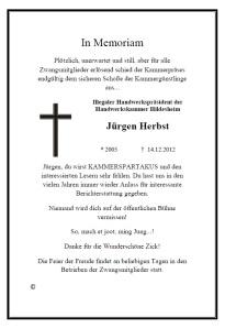 Auf Wiedersehen, Jürgen Herbst