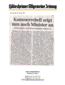 Kammerrebell zeigt nun auch Minister an
