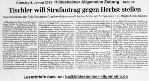 Tischler will Strafantrag stellen - HILDESHEIMER ALLGEMEINE ZEITUNG