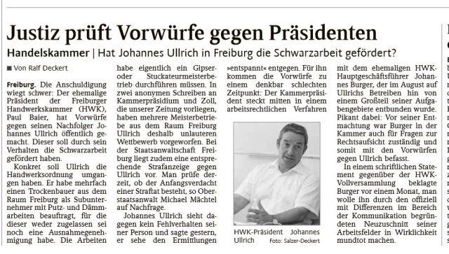 HWK Trier - Vorwurf Schwarzwarbeit Ullrich