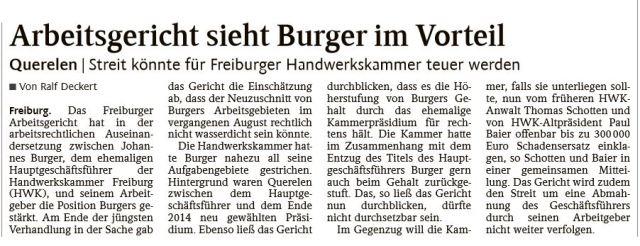 Arbeitsgericht siehr Burger im Vorteil